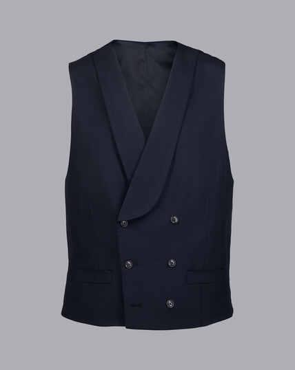 British Luxury Herringbone Suit Vest - Navy