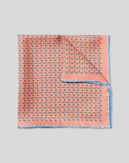 Toucan Print Pocket Square - Orange & Sky