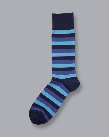 Jacquard Block Stripe Socks - Blue