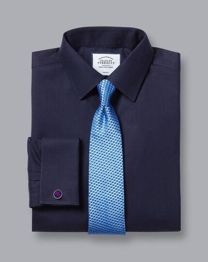 Bügelfreies Twill-Hemd - Marineblau