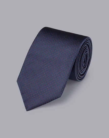 Krawatte aus Seide mit Mikropunkten - Petrolblau & Rot
