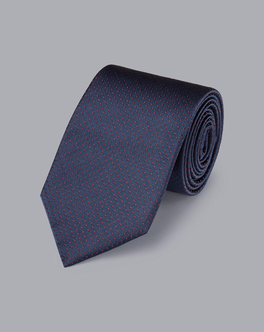 Silk Micro Spot Tie - Petrol Blue & Red