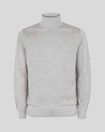 Merino Turtle Neck Sweater - Silver