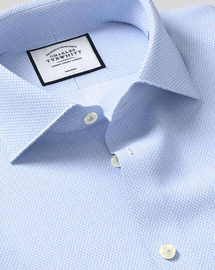 Business Casual Collar Non-Iron Tile Print Shirt - Sky