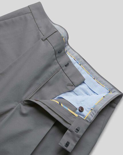 Single Pleat Smart Non-Iron Chinos - Grey