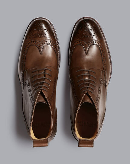 Goodyear Welted Brogue Boots - Chocolate Brown