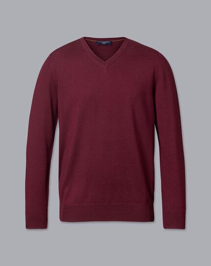 Merino V-Neck Sweater - Burgundy