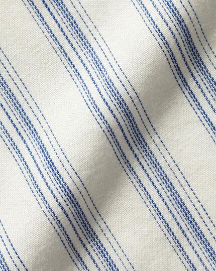 Cotton Linen Short Sleeve Stripe Shirt - White & Blue