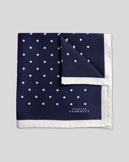 Classic Printed Spot Pocket Square - Navy & White