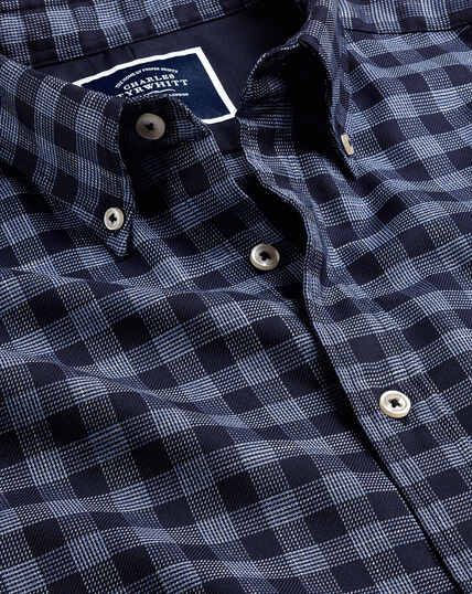 Button-Down Collar Non-Iron Twill Large Gingham Shirt - Blue