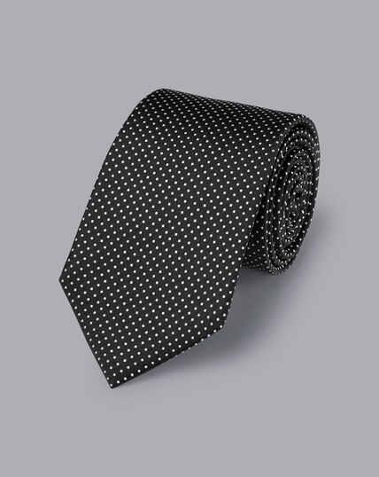 Silk Micro Spot Tie - Black & White