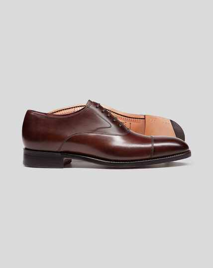 Made In England Oxford Flex Sole Shoes  - Mahogany