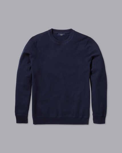 Merino-Kaschmir-Pullover mit Rundhals - Marineblau