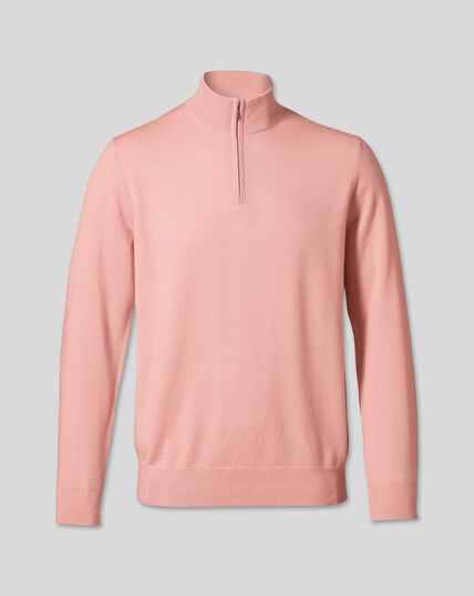 Merino Zip Neck Jumper - Light Pink