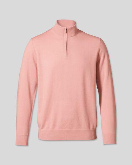Merino Zip Neck Sweater - Light Pink