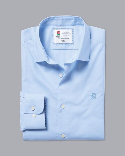 England Rugby Non-Iron Stretch Poplin Shirt - Sky