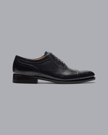 Goodyear Welted Oxford Brogue Shoes - Black