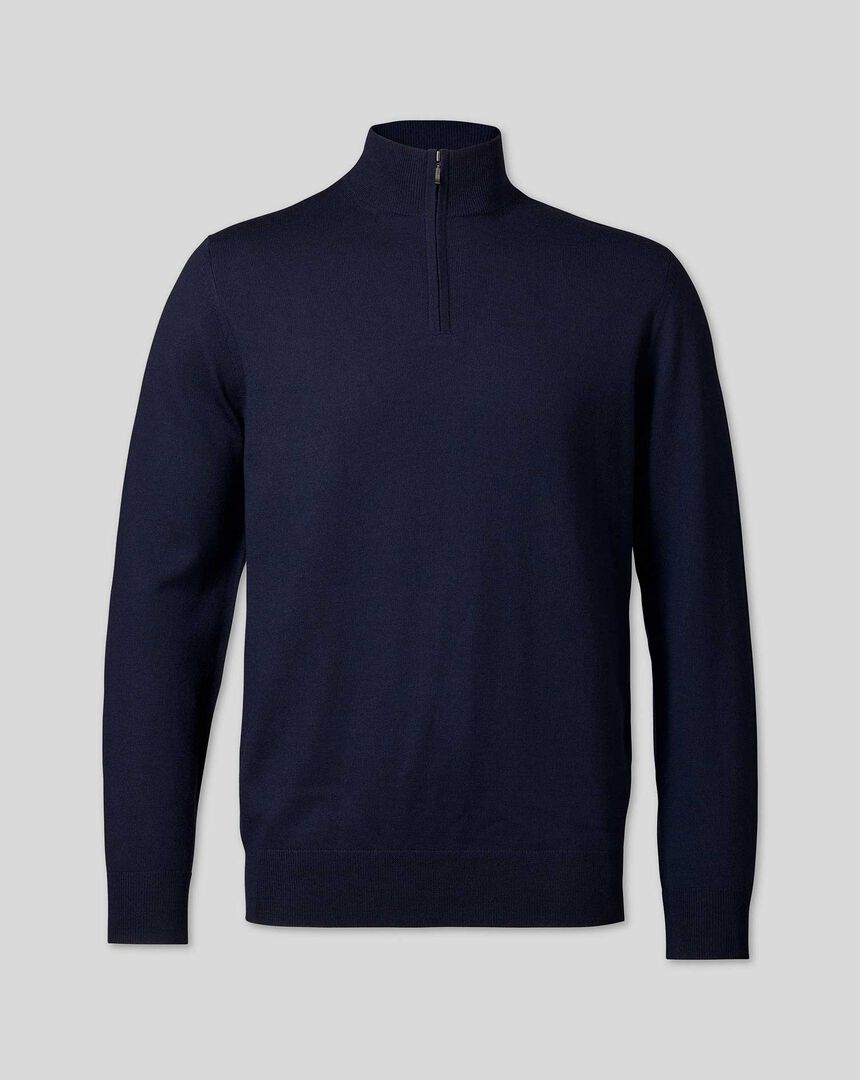Merino Zip Neck Sweater - Navy