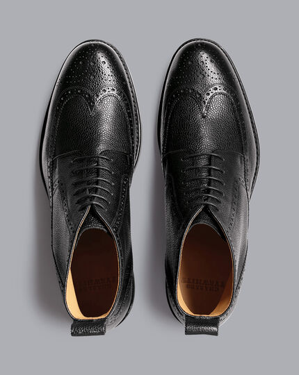 Goodyear Welted Brogue Boots - Black