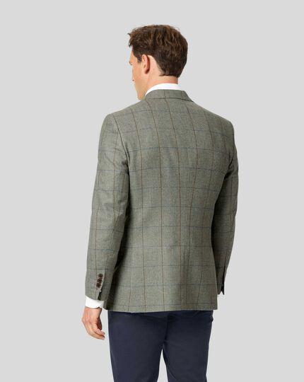 British Wool Cotton Cashmere Check Jacket - Green