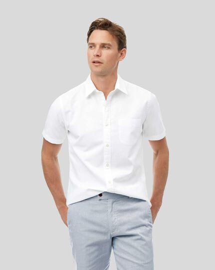Kurzarmhemd aus Baumwoll und Leinen - Weiß