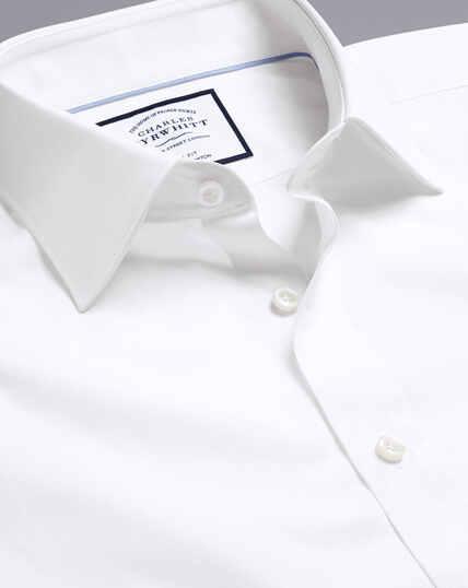 Semi-Cutaway Collar Egyptian Cotton Poplin Shirt - White