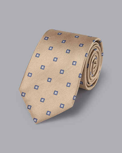 Krawatte aus Seide mis Quadrat-Print - Gelbbraun