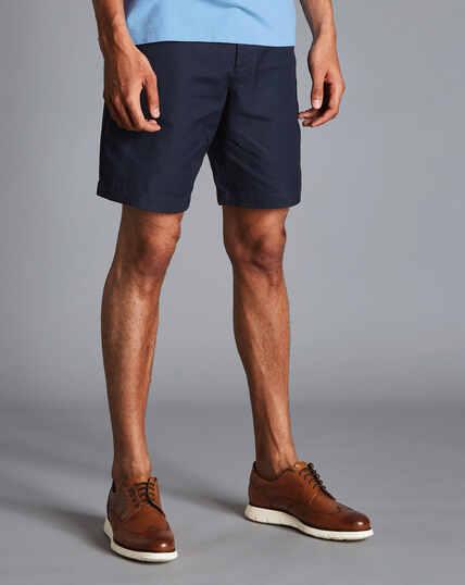 Shorts aus Baumwolle und Leinen - Marineblau