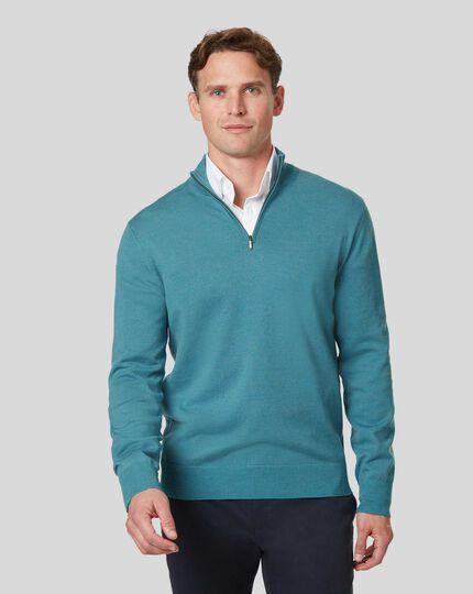 Merino Zip Neck Sweater - Teal Melange