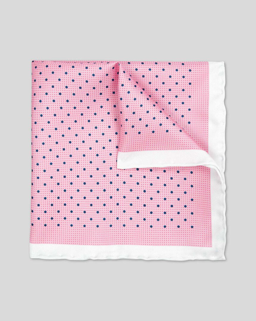 Classic Printed Spot Pocket Square - Pink & Navy