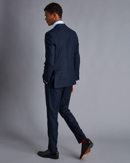 Textured Tonal Check Business Suit - Midnight Blue