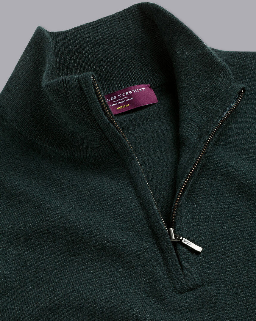 Cashmere Zip Neck Sweater - Forest Green