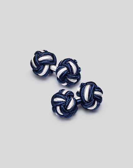 Knot Cufflinks - Indigo Blue & White