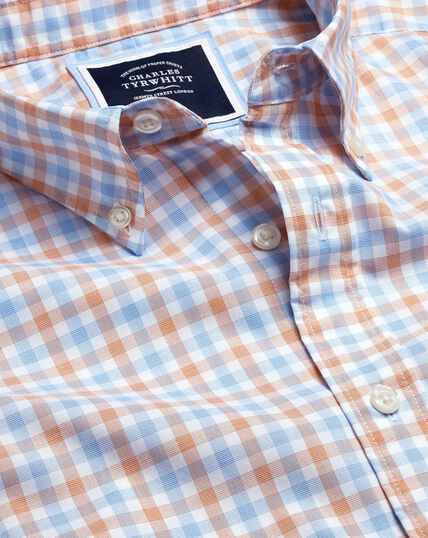 Button-Down Collar Non-Iron Stretch Poplin Gingham Shirt - Orange & Blue