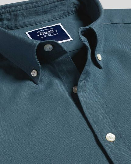 Button-Down Collar Washed Oxford Shirt - Mid Blue