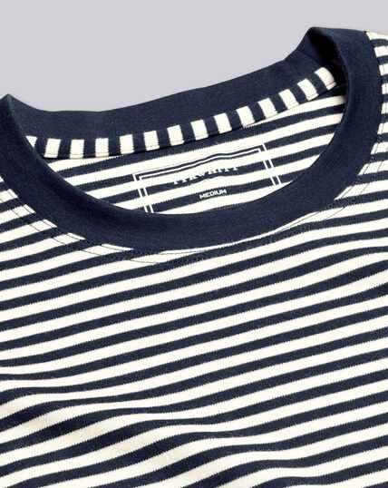 Smart Jersey Stripe Tyrwhitt T-Shirt - Navy& Ecru