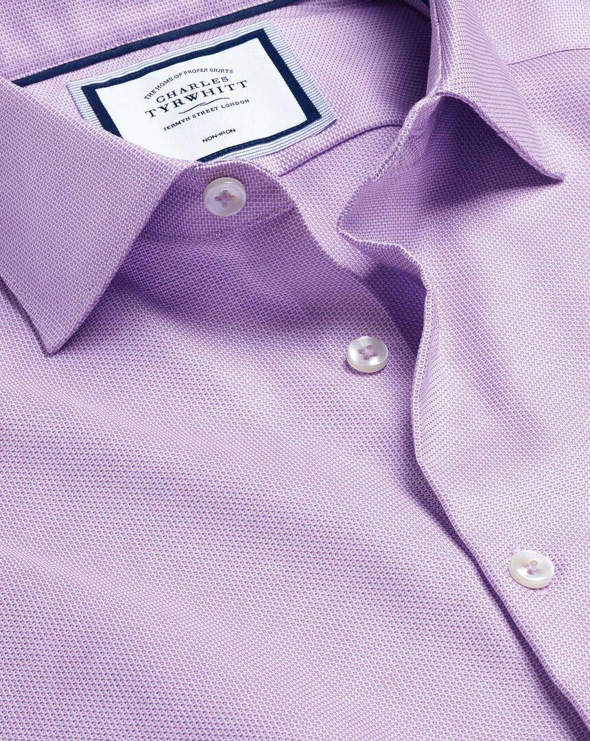 Smart Casual Collar Non-Iron Stretch Texture Shirt - Lilac