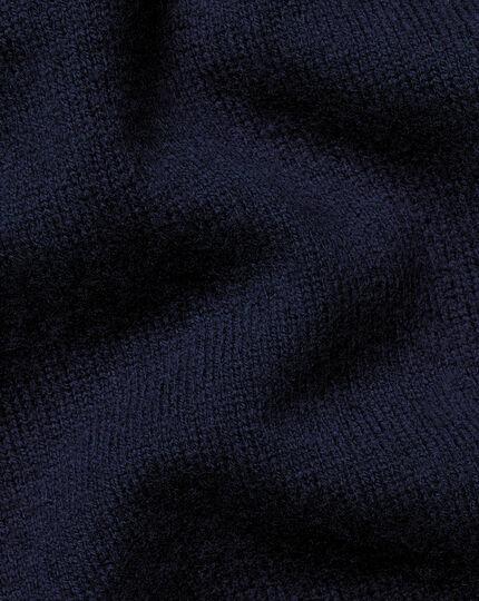 Merino Cashmere Button Neck Sweater - Navy
