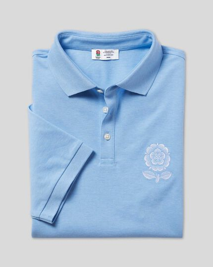 LIMITED EDITION England Rugby Heritage Rose Pique Polo - Sky