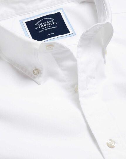 Bügelfreies Popeline-Hemd aus Stretchgewebe mit Button-down-Kragen - Weiß