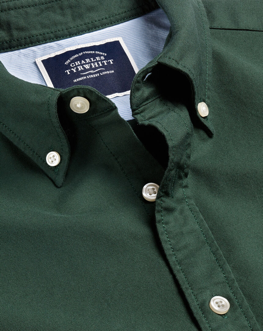 Button-Down Collar Washed Oxford Shirt - Forest Green