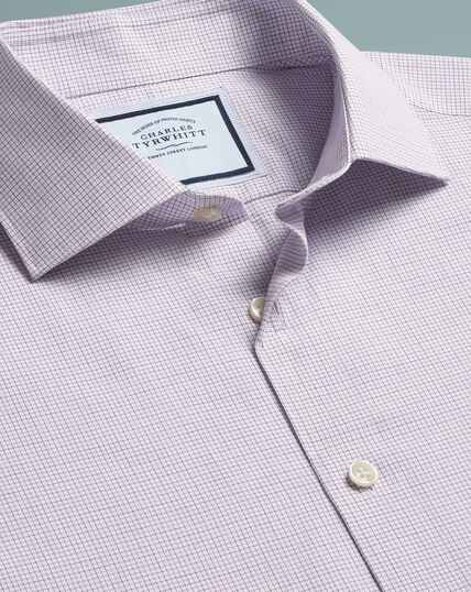 Slim fit peached Egyptian cotton purple check shirt
