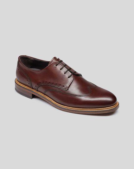 Flexible Sole Wing Tip Derby Shoe - Brown