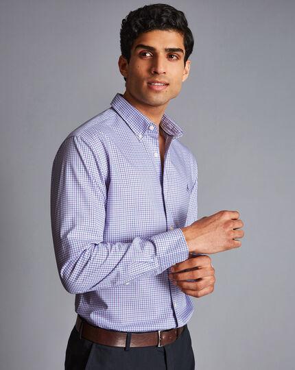 Bügelfreies Popeline-Hemd aus Stretchgewebe mit Button-down-Kragen und Karos - Lila & Himmelblau