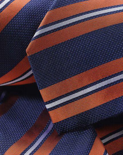 Silk Double Stripe Tie - Navy & Orange