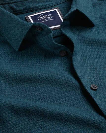 Strukturiertes Flanellhemd - Grün & Marineblau