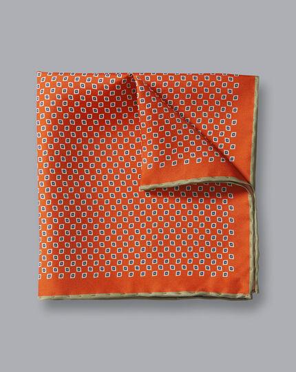 Einstecktuch mit geometrischem Miniprint - Orange