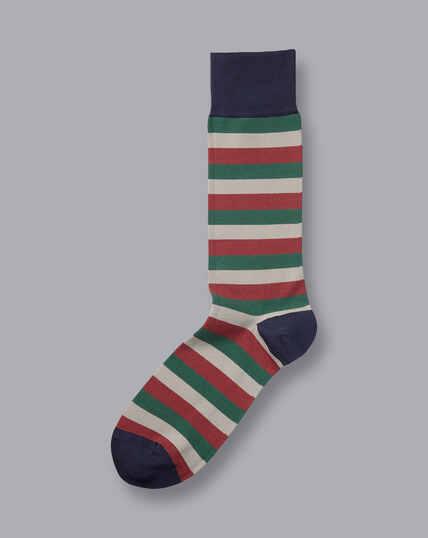 Jacquard Block Stripe Socks - Red & Olive