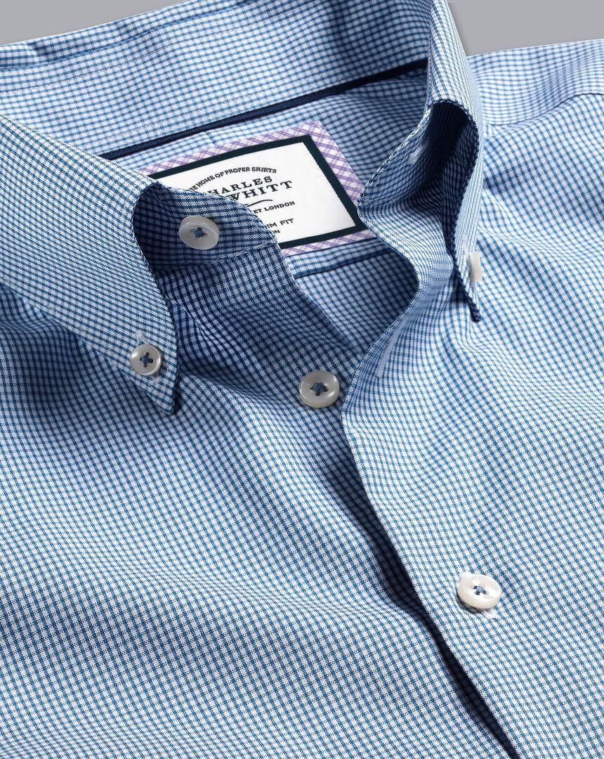 Button-Down Collar Non-Iron Check Shirt - Royal Blue