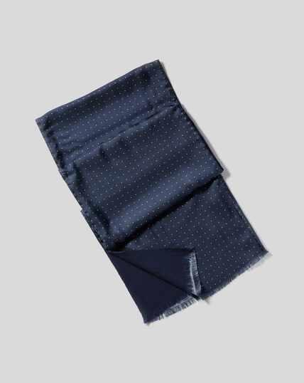 Seidenschal mit Punkten - Marineblau